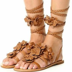 Tory Burch Blossom Gladiator Leather Sandals 8
